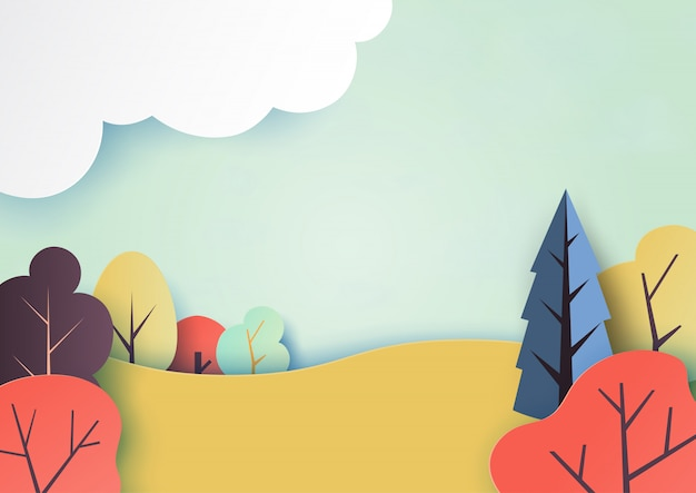 Autumn and colorful nature landscape paper art style