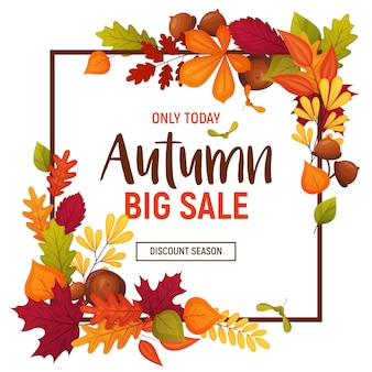 Autumn colorful sale banner with different leaves and branches. square size