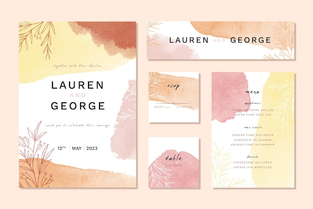 Autumn colors watercolor wedding stationery items