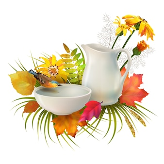 Autumn composition with a pitcher, a bird drinking water from a clay bowl, flowers and autumn leaves over white background
