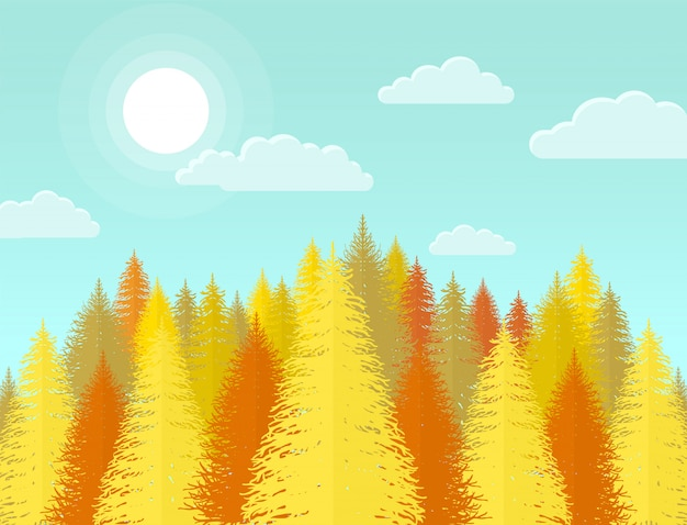 Autumn coniferous pine forest, nature landscape with yellow tree
