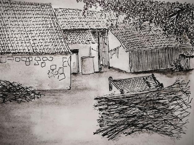 秋の田舎の風景農業農場の納屋と農家の水彩画