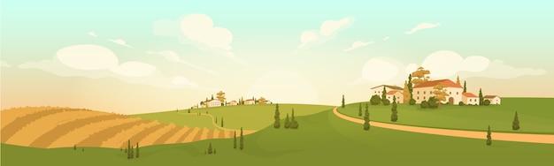 秋の田園風景フラットカラー。黄色の農地2d漫画の風景。家とヒノキの木のある丘陵地帯。農村地域に落ちる。ヨーロッパの小さな町