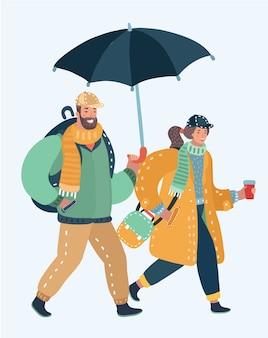 Осенняя пара с зонтом под дождем