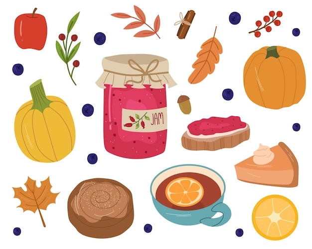 잼, 차, 롤빵, 호박, 사과, 잎, 열매가 있는 가을의 아늑한 세트입니다. 벡터 손으로 그린 만화 그림입니다.