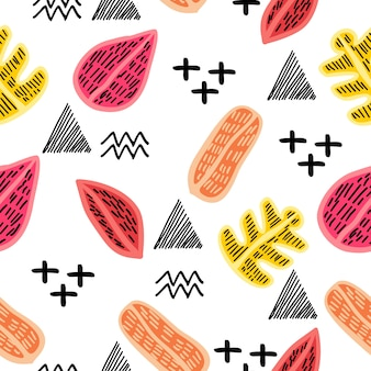 Autumn creative pattern with geometric abstract background