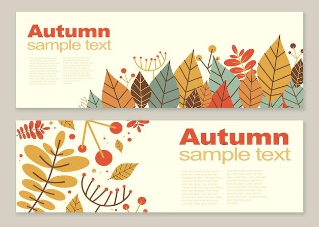 Autumn creative templates set flyers