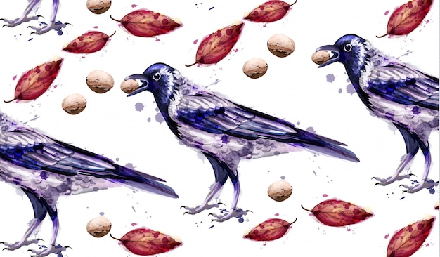 Autumn crow watercolor background