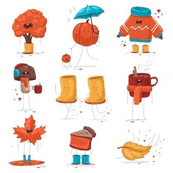 Осенний набор персонажей мультфильма милый и забавный вектор, изолированные на белом фоне.