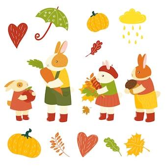 Autumn cute bunny hand drawn cartoon hare rabbit with autumn leaves forest animal