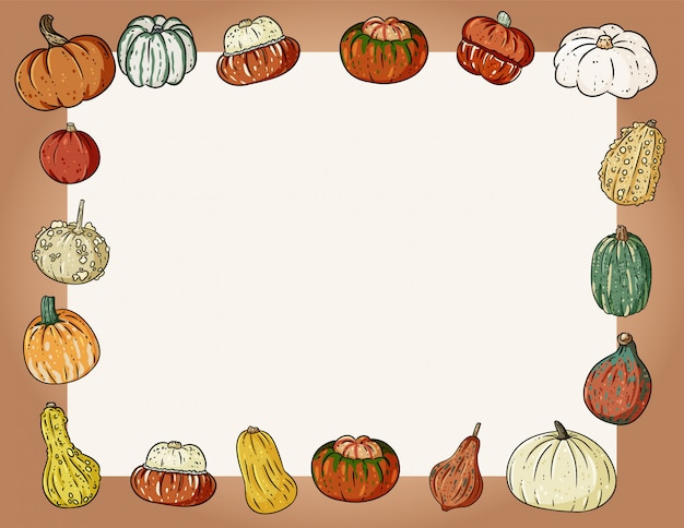 Autumn cute cozy banner with pumpkins. autumn festive poster