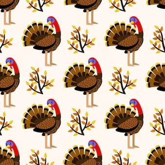 Autumn cute seamless pattern with turkey birds