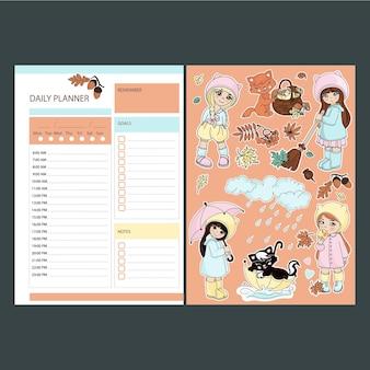 아기가 있는 가을 데일리 플래너 스티커 인쇄용 페이지 템플릿 일정 및 디자인 요소가 있는 컬렉션
