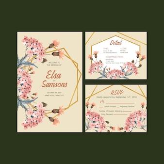 웨딩 카드 및 초대장 수채화 가을 매일 템플릿 디자인