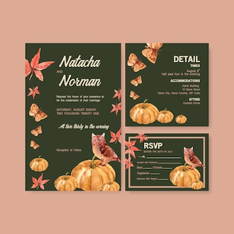 Осенний ежедневный дизайн шаблона для свадебной открытки и приглашения акварелью