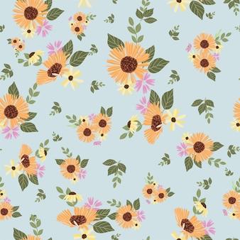 Autumn daisy flowers pattern