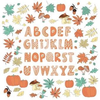 Autumn decor alphabet color vector illustration set