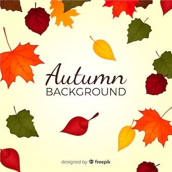 秋の装飾的な背景のフラットデザイン