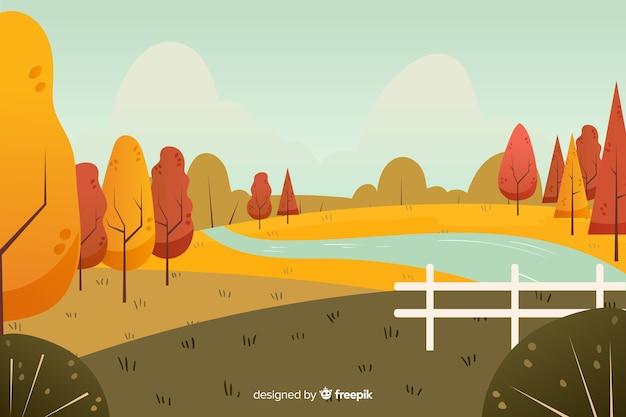 Autumn decorative background flat design