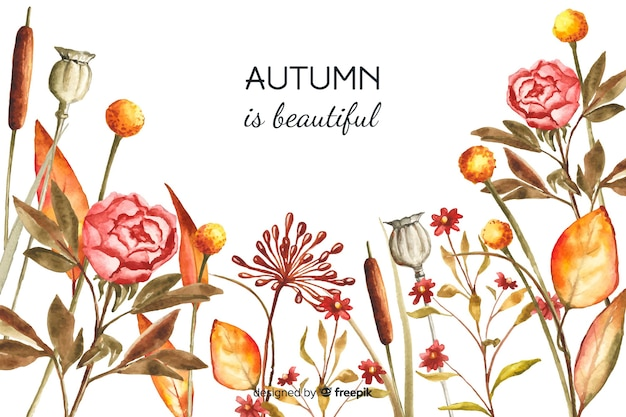 Autumn decorative background watercolor style