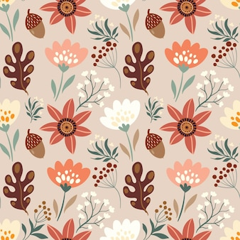 Autumn decorative seamless pattern with floral elements acorns plants leaves and flowers