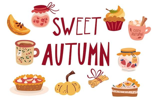 Осенние вкусные сладкие десерты. тыквенные приправы сезонные ароматизированные продукты. рука рисовать еду и напитки. празднование дня благодарения. современные красочные векторные иллюстрации.