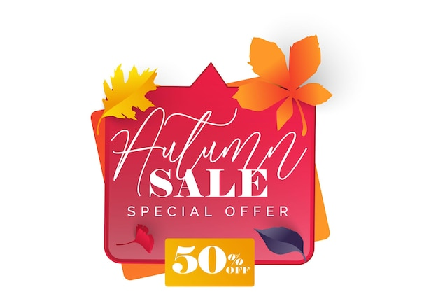 Autumn design with leaves  banner card and poster design