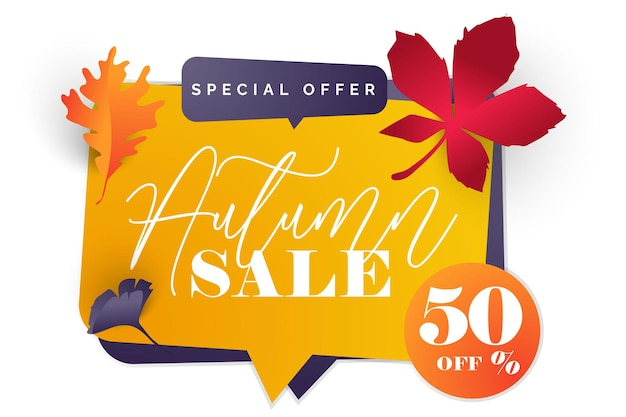 Autumn design with leavesbanner card and poster design