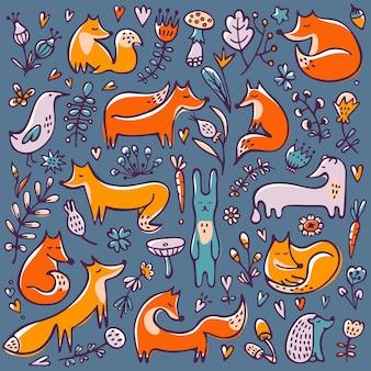 Осенний фон каракули с ветвями хорька, кролика, лисы, кролика, хорька и цветочными элементами