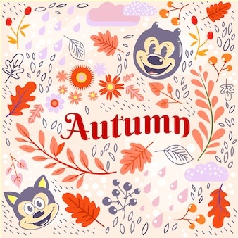 Осенний рисунок каракули