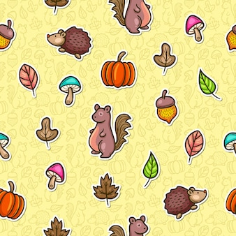 Autumn doodle colorful seamless pattern