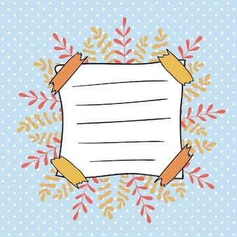 子供のノートブックのための秋の落書きカバー。ポルカドットの背景にかわいい葉のフレーム。学校の装飾に戻る