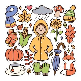 秋の落書きイラスト
