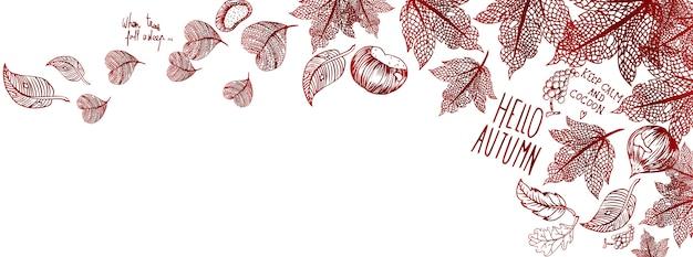 Autumn doodles banner