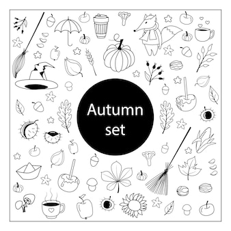 Autumn drawings. hand drawn sketch set. isolated objects black lines on white background