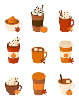 Autumn drinks with cream, pumpkin and chocolate chips, august