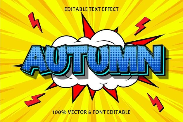 Осенний редактируемый текстовый эффект тиснения в стиле комиксов