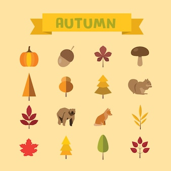 Autumn element flat icons set