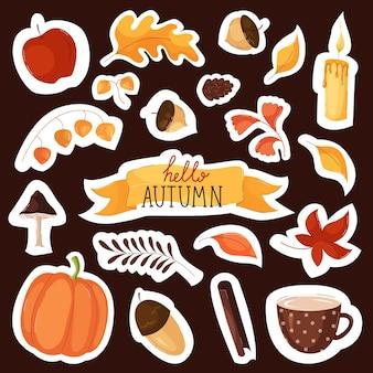 평면 스타일의 레터링, 잎 및 배지 디자인이 있는 가을 요소 및 스티커