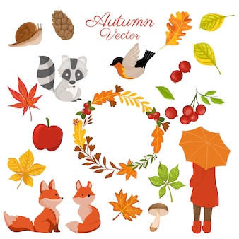 Autumn elements collection with decorative wreath