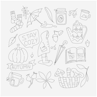 Осенние элементы каракули set cosy time icons коллекция осеннего сезона минималистичный простой