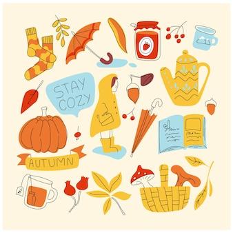Осенние элементы каракули set cosy time icons осенний сезон коллекция novembe минималистичный простой