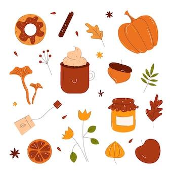 Осенние элементы в стиле рисованной каракули с изолированными тыквами, листьями, желудями