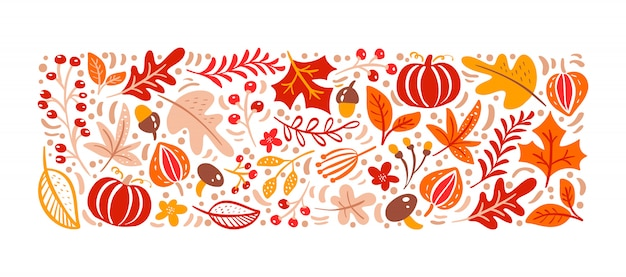 Autumn elements. mushroom, acorn, maple leaves and pumpkin