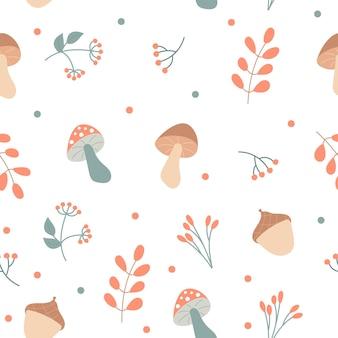 가 요소-버섯과 식물-흰색 배경에. 끝없는 패턴. 포장, 카드, 섬유를 위한 손으로 그린 매끄러운 질감