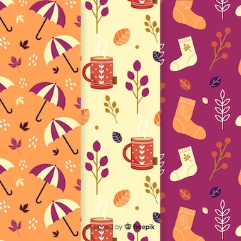 Autumn elements pattern collection flat design
