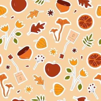 Осенние элементы бесшовные модели с корицей, грибами, листьями и цветами рисованной