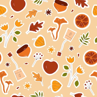 Autumn elements seamless pattern with cinnamon, mushrooms, leaves and flowers hand drawn