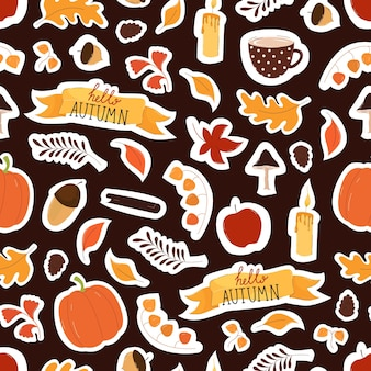 Autumn elements seamless pattern with leaves. acorns, pumpkin in flat trend style on brown background