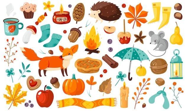 秋の要素。黄色い落ち葉、植物、動物、食べ物、収穫祭、カードやポスターの感謝祭の属性、フラットベクトル漫画分離セット